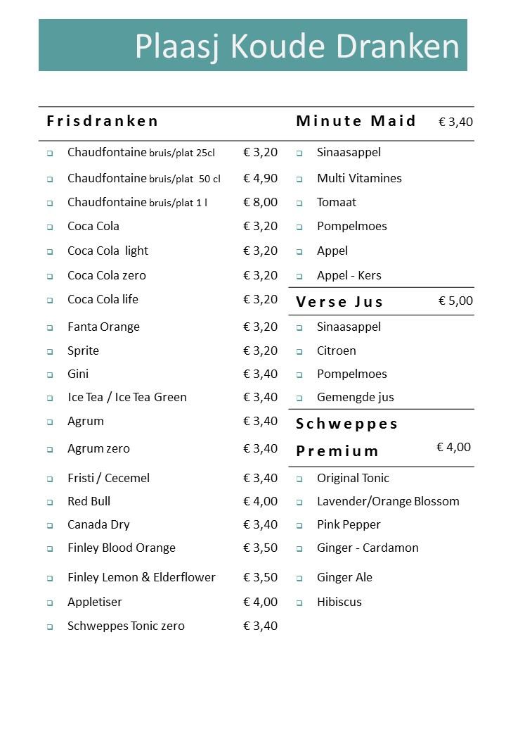 Plaasj Kaffee Food & Drinks Drankkaart