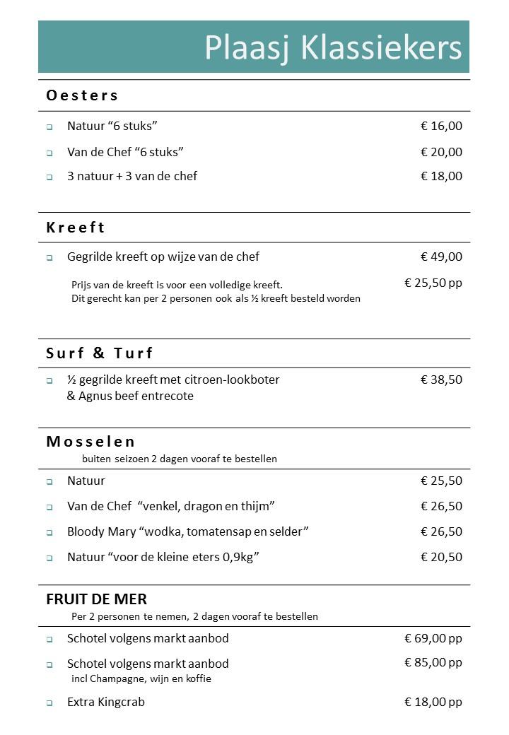 Plaasj Kaffee Food & Drinks Menukaart