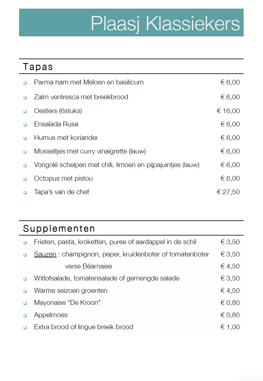 Plaasj Kaffee Food & Drinks Menukaart