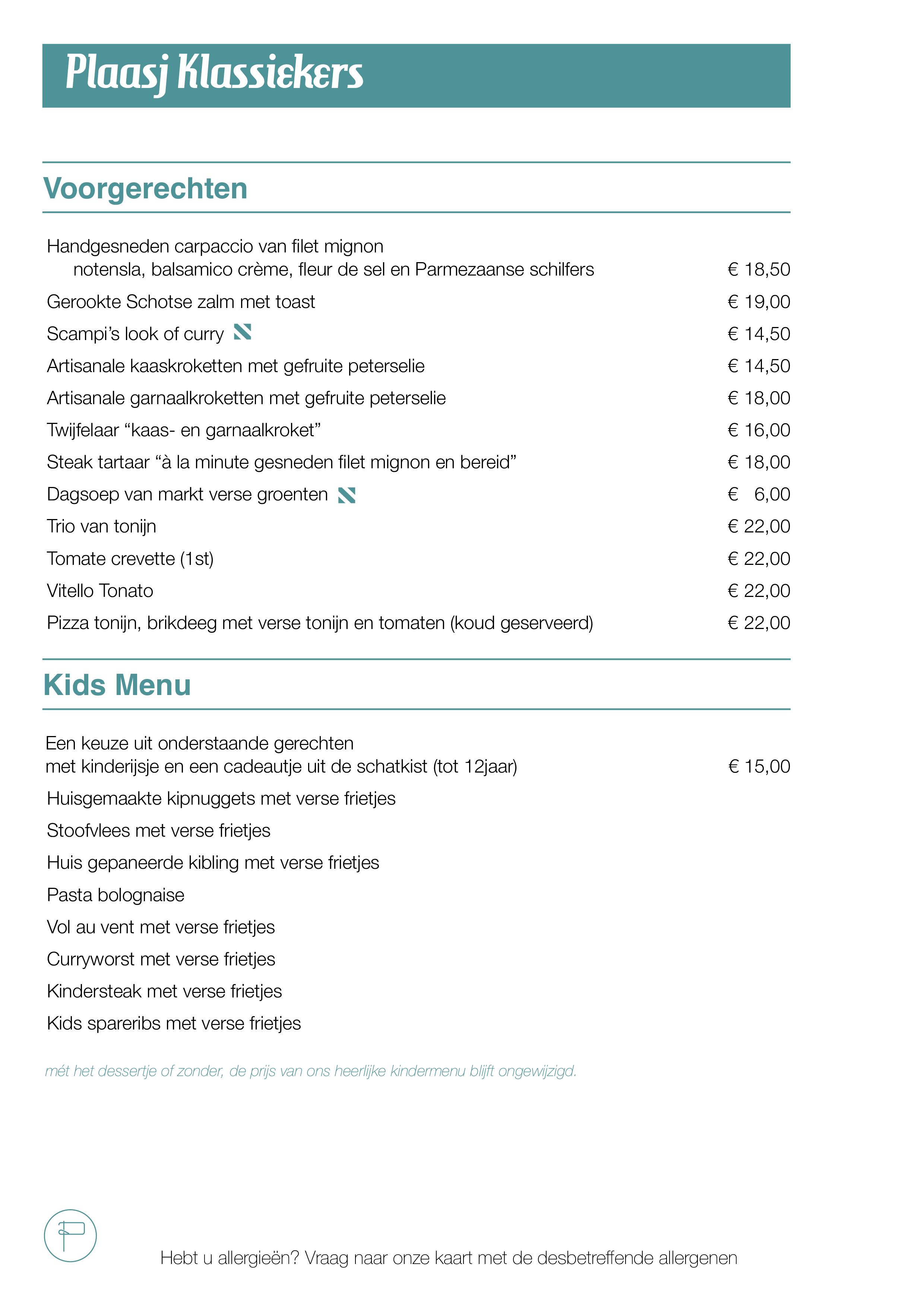 Plaasj food & drinks - Menu 2020 Zomersgenieten