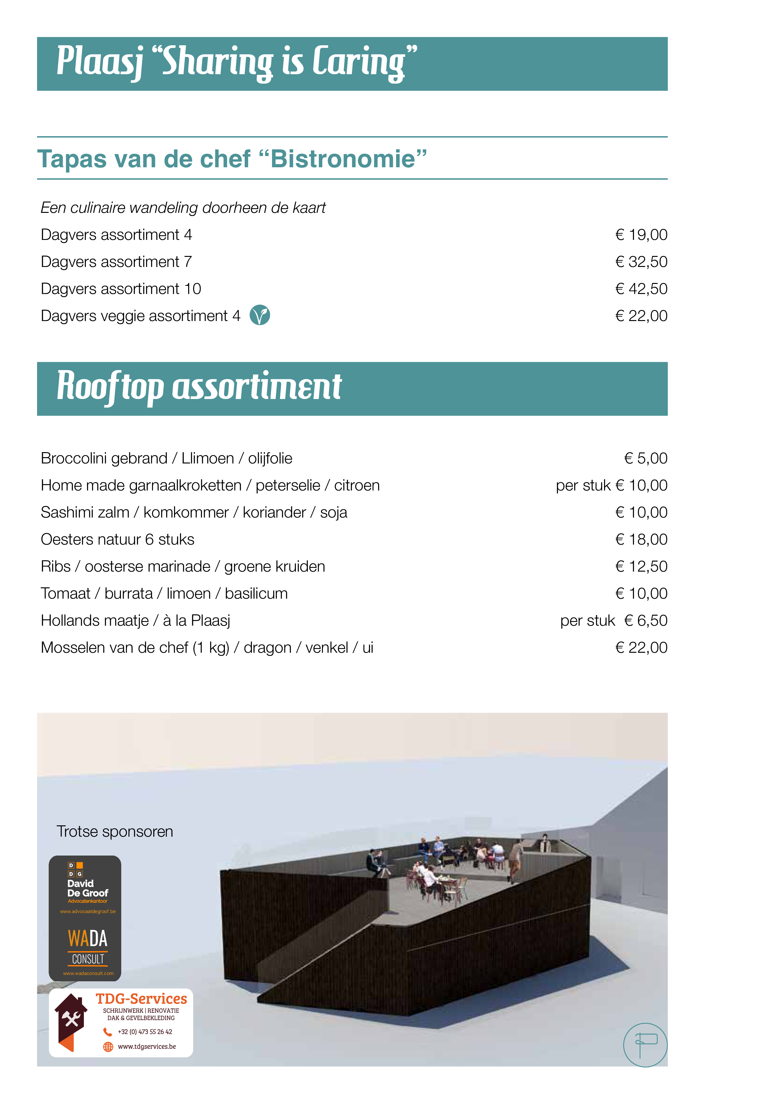 Plaasj food & drinks - Rooftop Menu 2020 Zomersgenieten